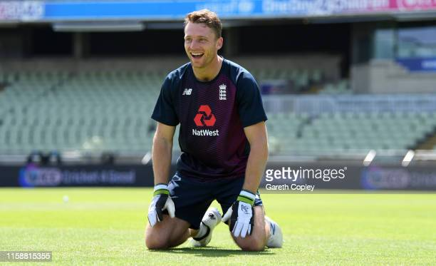 Jos Buttler of England takes part in a wicketkeeping drill during a nets session at Edgbaston on June 28 2019 in Birmingham England