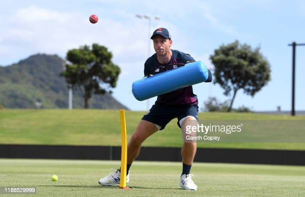 Jos Buttler of England takes part in a wicketkeeping drill during a nets session at Bay Oval on November 19 2019 in Mount Maunganui New Zealand