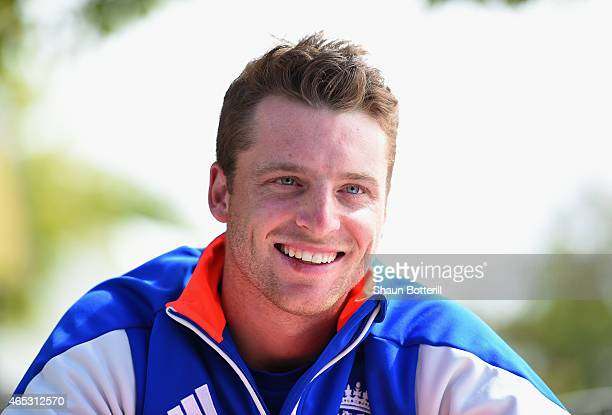 Jos Buttler of England talks to the media before an England nets session at St Peter's College on March 6 2015 in Adelaide Australia