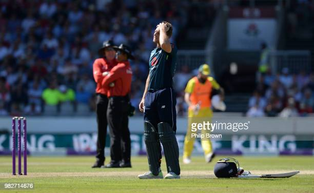 Jos Buttler of England waits for a new partner during the fifth Royal London OneDay International match between England and Australia at Emirates Old...