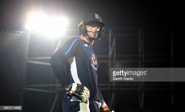 Jos Buttler of England waits to bat during a nets session at Pallekele International Cricket Stadium on October 16 2018 in Kandy