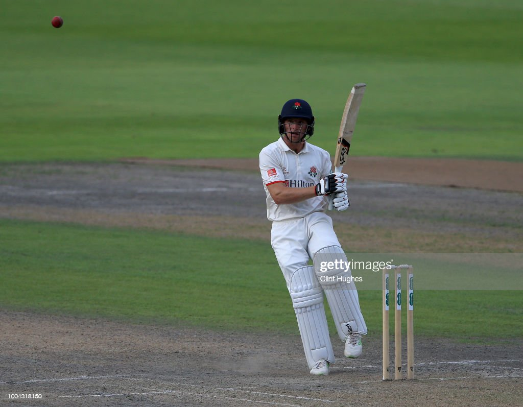 Jos Buttler of Lancashire bats during day two of the Specsavers County Championship division one match between Lancashire and Yorkshire at Emirates Old Trafford on July 23, 2018 in Manchester, England.