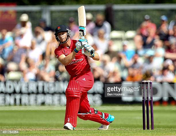 Jos Buttler of Lancashire in action during the Natwest T20 Blast match between Worcestershire Rapids and Lancashire Lightning at New Road on July 6...