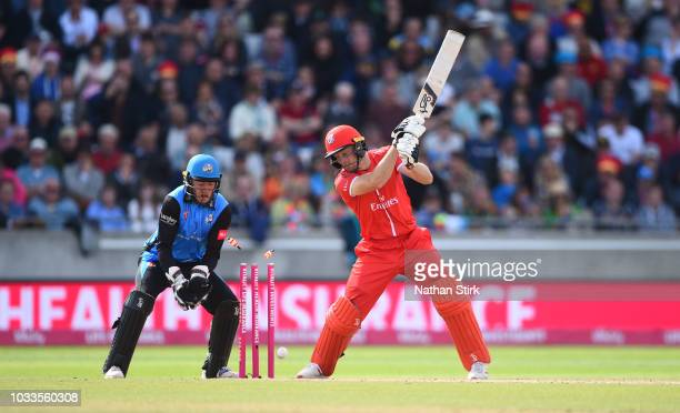 Jos Buttler of Lancashire is bowled by Moeen Ali of Worcestershire during the Vitality Blast SemiFinal match between Worcestershire Rapids and...
