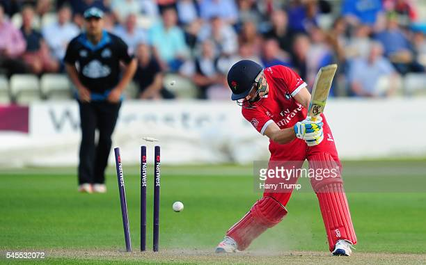 Jos Buttler of Lancashire is bowled during the Natwest T20 Blast match between Worcestershire and Lancashire at New Road on July 8 2016 in Worcester...