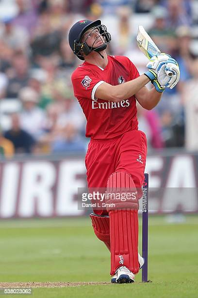 Jos Buttler of Lancashire Lightning bats during the NatWest T20 Blast match between Notts Outlaws and Lancashire Lightning at Trent Bridge on June 4...