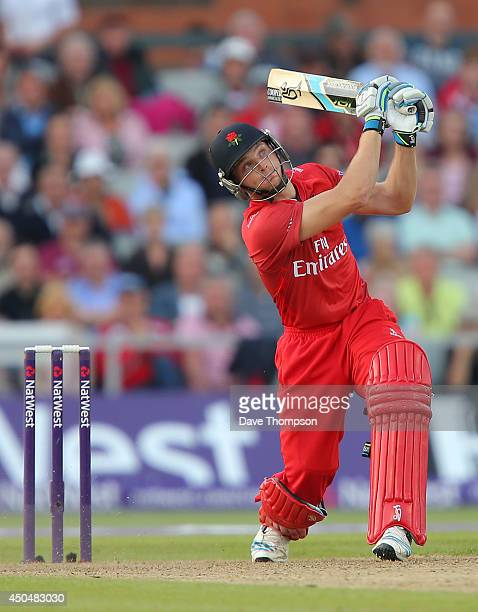 Jos Buttler of Lancashire Lightning during the Natwest West T20 Blast match between Lancashire Lightning and Yorkshire Vikings at Old Trafford on...