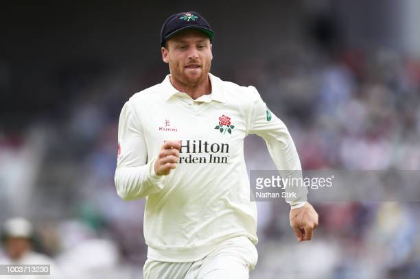 Jos Buttler of Lancashire runs for the ball during the Specsavers Championship Division One match between Lancashire and Yorkshire at Old Trafford on...