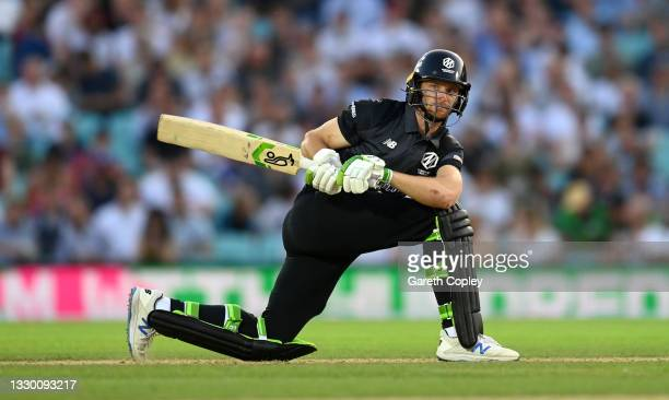 Jos Buttler of Manchester Originals bats during the Hundred match between Oval Invincibles and Manchester Originals at The Kia Oval on July 22, 2021...