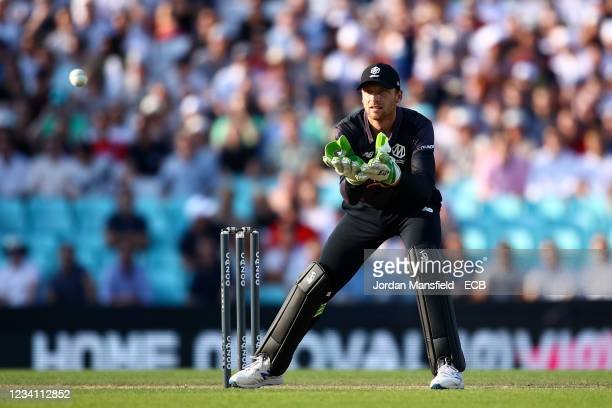 Jos Buttler of the Manchester Originals in action during The Hundred match between Oval Invincibles Men and Manchester Originals Men at The Kia Oval...