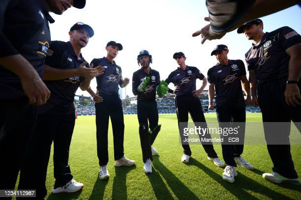 Jos Buttler of the Manchester Originals speaks to his team in a huddle during The Hundred match between Oval Invincibles Men and Manchester Originals...