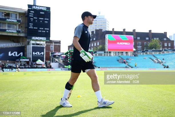 Jos Buttler of the Manchester Originals walks out to warm up ahead of The Hundred match between Oval Invincibles Men and Manchester Originals Men at...