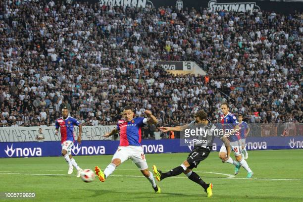 José Cañas of PAOK scores a goal during Champions League second qualifying round first leg football match between PAOK FC and FC Basel at the Toumba...