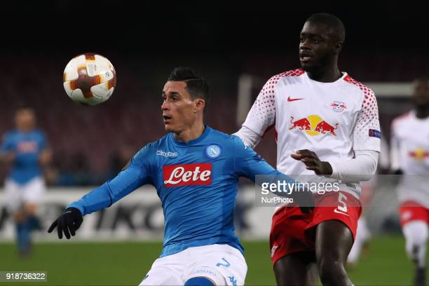 Jos Callejon AND Dayto Ypamecano during the Europe Ligue football SSC Napoli v RB Leipzing at S Paolo Stadium in Naples on February 15 2018