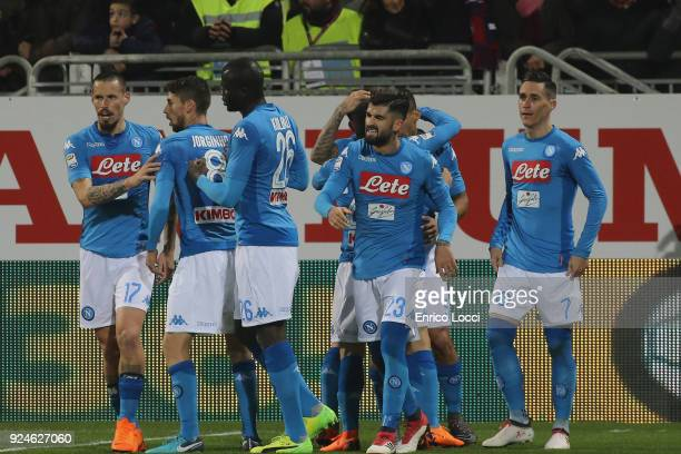 Josè Callejon celebrates his goal 01 during the Serie A match between Cagliari Calcio and SSC Napoli at Stadio Sant'Elia on February 26 2018 in...