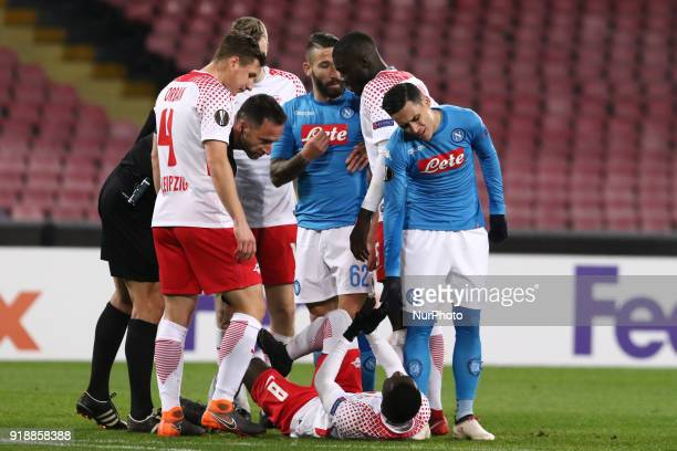 Jos Callejon Naby Keita and Lorenzo Tonelli during the Europe Ligue football SSC Napoli v RB Leipzing at S Paolo Stadium in Naples on February 15 2018