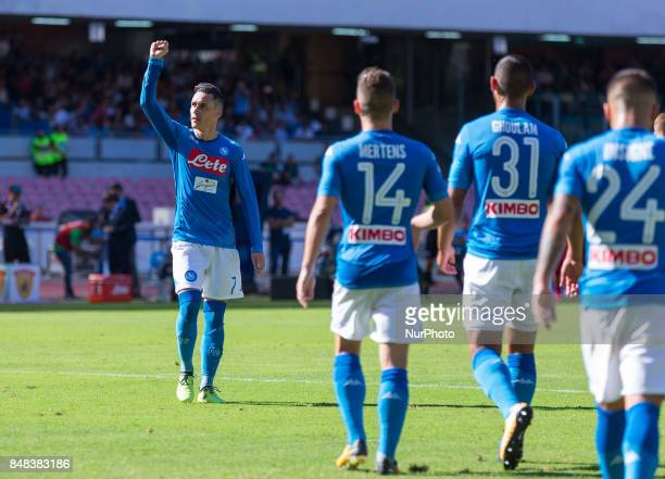 Josè Callejon of SSC Napoli celebrates after scoring the 40 during the Italian Serie A match between SSC Napoli and Benevento at San Paolo Stadium on...