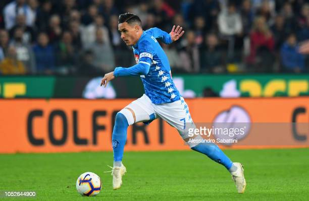 Josè Callejon of SSC Napoli in action during the Serie A match between Udinese and SSC Napoli at Stadio Friuli on October 20 2018 in Udine Italy