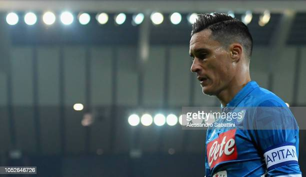 Josè Callejon of SSC Napoli looks on during the Serie A match between Udinese and SSC Napoli at Stadio Friuli on October 20 2018 in Udine Italy