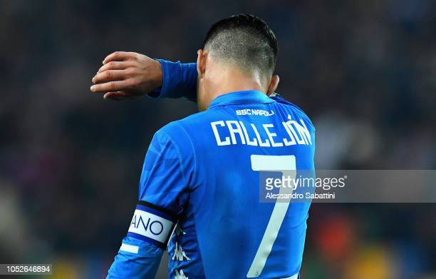 Josè Callejon of SSC Napoli reacts during the Serie A match between Udinese and SSC Napoli at Stadio Friuli on October 20 2018 in Udine Italy
