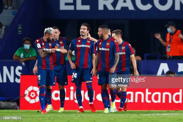 José Campaña of Levante UD celebrates scoring his side's 2nd goal during the La Liga Santader match between Levante UD and Real Madrid CF at Ciutat...