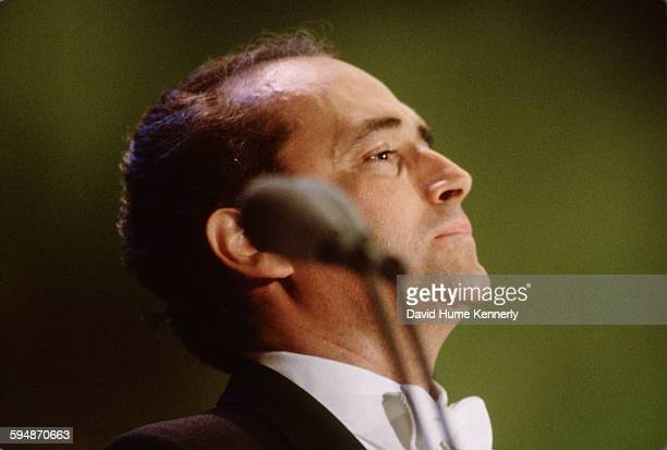 José Carreras performs at The Three Tenors concert at Dodger Stadium July 16 1994 in Los Angeles The concert is programmed to coincide with the end...