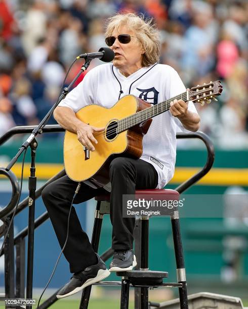 José Feliciano sings the National Anthem before a MLB game between the Detroit Tigers and the St Louis Cardinals at Comerica Park on September 8 2018...
