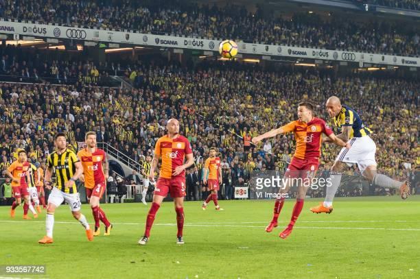 José Fernando Viana de Santana of Fenerbahce SK scores but his goal was cancelled during the Turkish Spor Toto Super Lig match Fenerbahce AS and...