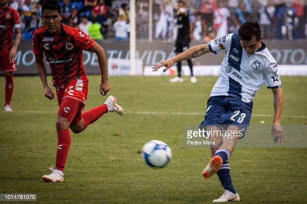 José Francisco Torres of Puebla kicks the ball during a match between Puebla and Veracruz as part of Torneo Apertura Liga MX at Estadio Cuauhtemoc on...