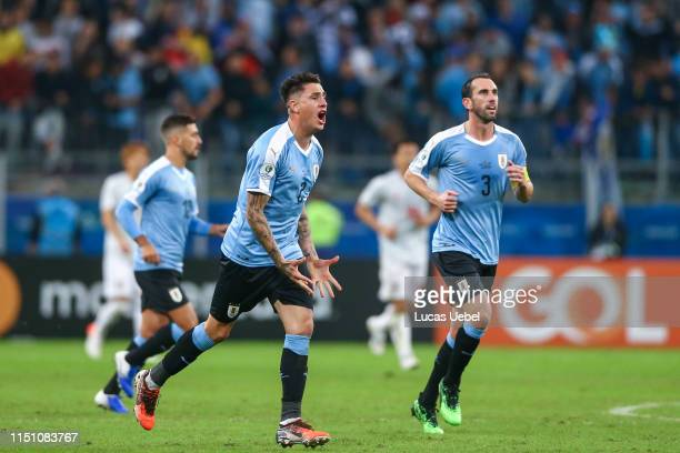 José Giménez of Uruguay celebrates after scoring his team's second goal during the Group C match between Uruguay and Japan during Copa America Brazil...
