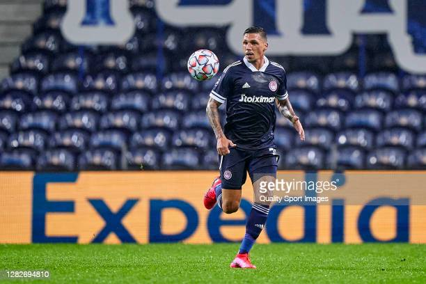 José Holebas of Olympiacos FC looks on during the UEFA Champions League Group C stage match between FC Porto and Olympiacos FC at Estadio do Dragao...