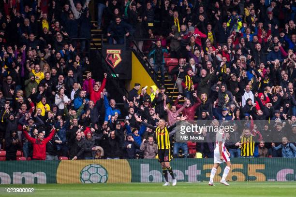 José Holebas of Watford celebrates after scoring a goal during the Premier League match between Watford FC and Crystal Palace at Vicarage Road on...
