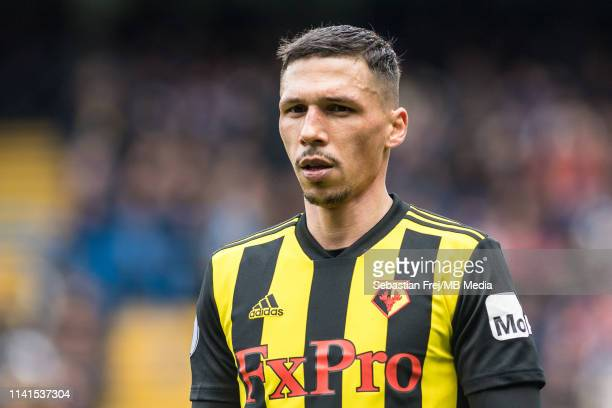 José Holebas of Watford FC looks on during the Premier League match between Chelsea FC and Watford FC at Stamford Bridge on May 5, 2019 in London,...