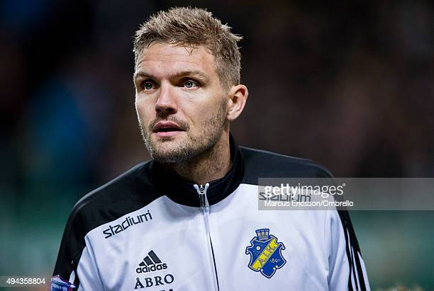 Jos Hooiveld of AIK before the Allsvenskan match between AIK and IFK Goteborg at Friends arena on October 26 2015 in Solna Sweden