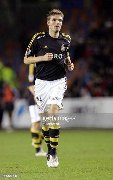Jos Hooiveld of AIK Solna during the Allsvenskan League match between AIK Solna and Orebro SK held on October 28 2009 at the Rasunda Stadium in...