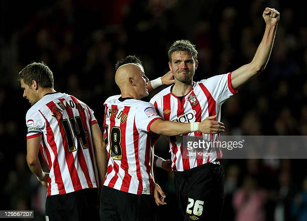 Jos Hooiveld of Southampton celebrates his goal with team mates during the npower Championship match between Southampton and West Ham United at St....