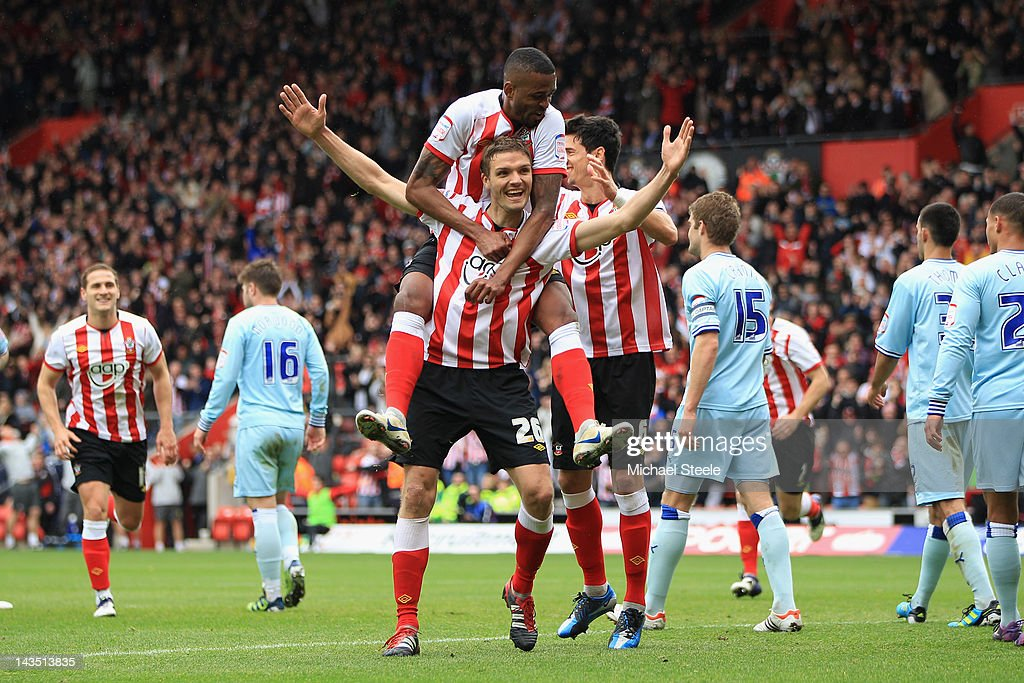 Jos Hooiveld of Southampton celebrates scoring his sides third goal with Guly Do Prado during the npower Championship match between Southampton and Coventry City at St Mary's Stadium on April 28, 2012 in Southampton, England.