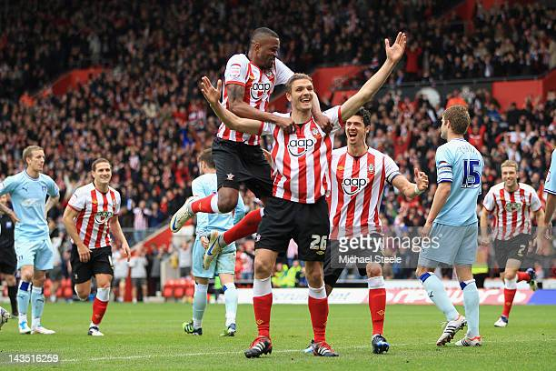 Jos Hooiveld of Southampton celebrates scoring his sides third goal with Guly Do Prado during the npower Championship match between Southampton and...