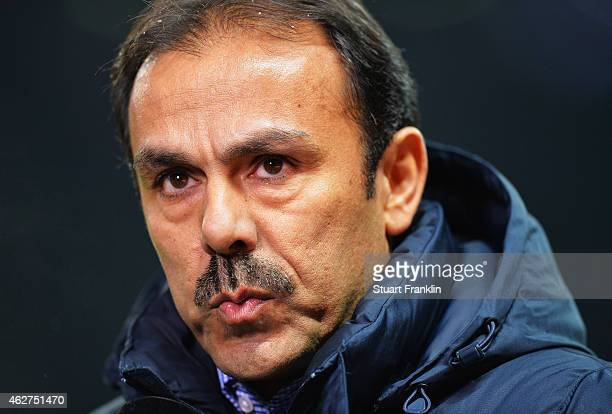 Jos Luhukay head coach of Berlin looks on during the Bundesliga match between Hertha BSC and Bayer 04 Leverkusen at Olympiastadion on February 4 2015...