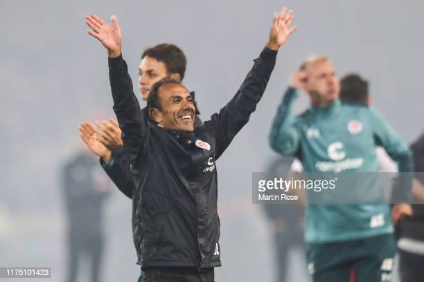 Jos Luhukay head coach of FC Pauli celebrates after winning the Second Bundesliga match between FC St. Pauli and Hamburger SV at Millerntor Stadium...