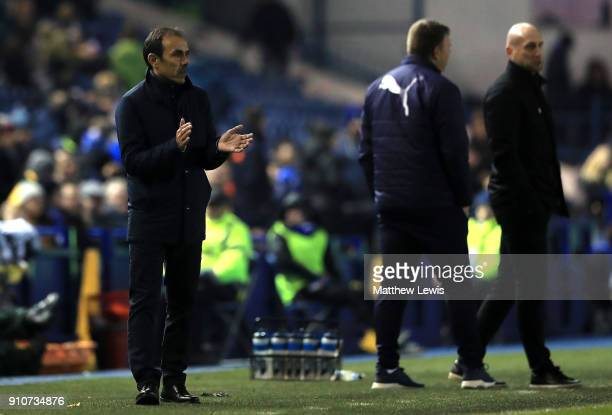Jos Luhukay Manager of Sheffield Wednesday applauds his team during The Emirates FA Cup Fourth Round match between Sheffield Wednesday and Reading on...
