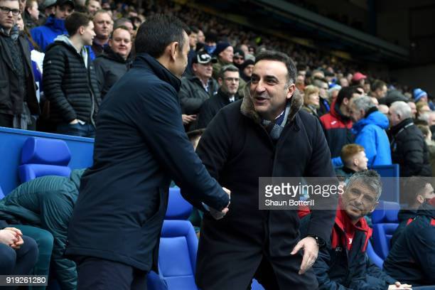 Jos Luhukay Manager of Sheffield Wednesday greets Carlos Carvalhal Manager of Swansea City prior to the The Emirates FA Cup Fifth Round between...