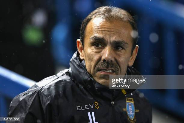 Jos Luhukay Manager of Sheffield Wednesday looks on during The Emirates FA Cup Third Round Replay match between Sheffield Wednesday and Carlisle...
