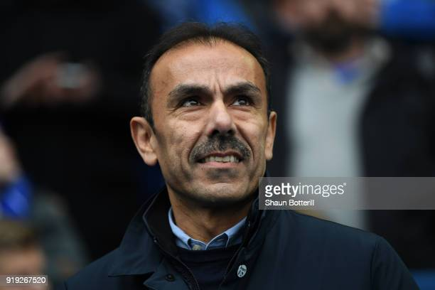 Jos Luhukay Manager of Sheffield Wednesday looks on prior to the The Emirates FA Cup Fifth Round between Sheffield Wednesday and Swansea City at...