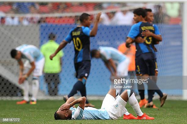 José Luis Gómez of Argentina deplores the downgrading in the first phase during the Group D match between Argentina and Honduras on Day 5 of the Rio...