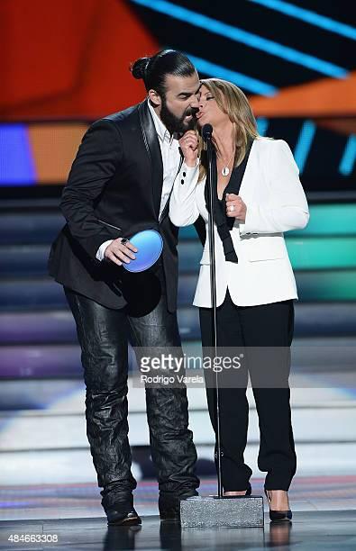 José Luis Reséndez and Ana Maria Polo onstage at Telemundo's 'Premios Tu Mundo' Awards 2015 at American Airlines Arena on August 20 2015 in Miami...