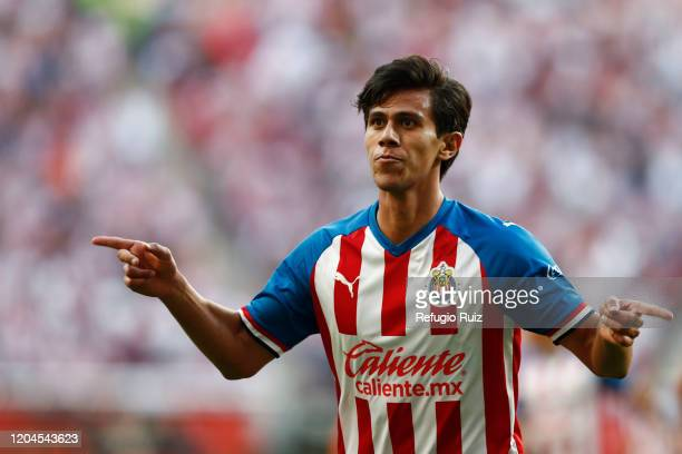 José Macías of Chivas celebrates after scoring the first goal of his team during the 8th round match between Chivas and Leon as part of the Torneo...