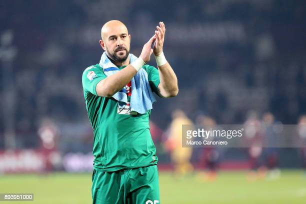José Manuel Reina of Ssc Napoli celebrates victory after the Serie A the Serie A football match between Torino Fc and Ssc Napoli Ssc Napoli wins 31...