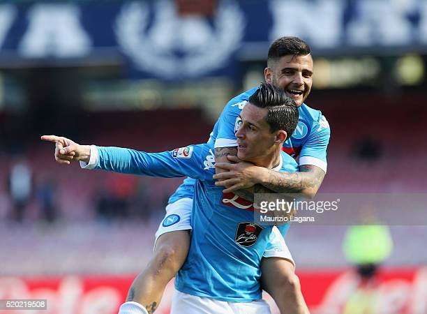 Josè maria Callejon and Lorenzo Insigne of Napoli celebrate their team's third goal during the Serie A match between SSC Napoli and Hellas Verona FC...