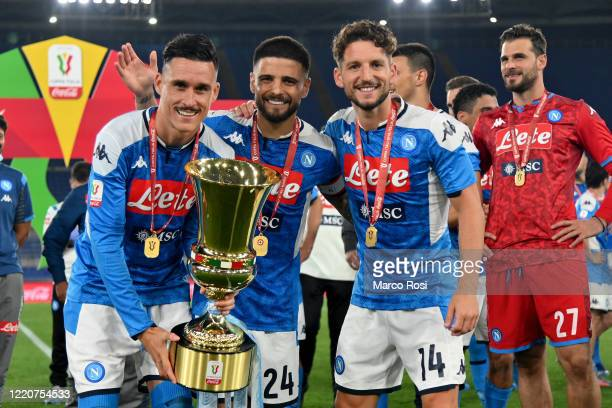 José Maria Callejon, Lorenzo Insigne and Dries Mertens of SSC Napoli celebrating with the trophy the winning of the Coppa Italia after the Coppa...
